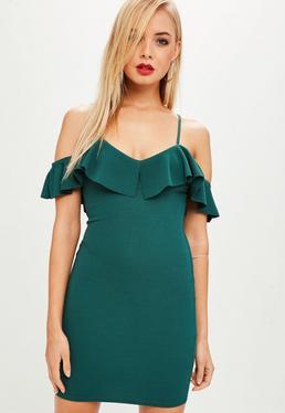 Green Crepe Frill Layer Bodycon Mini Dress