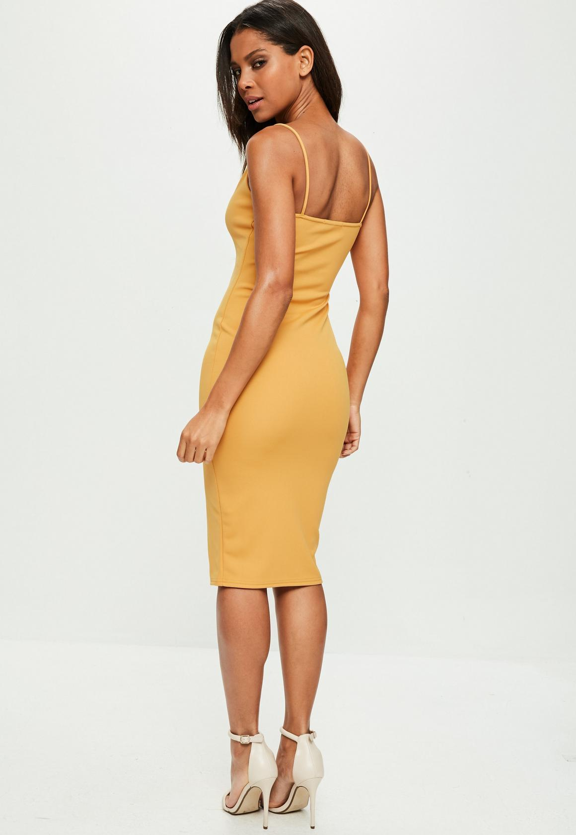 936a9822c2 Missguided - Yellow Scuba Plunge Dress