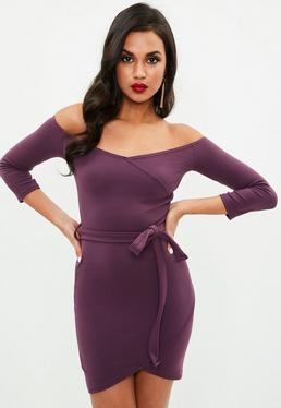 Plum Long Sleeve Wrap Front Tie Mini Dress