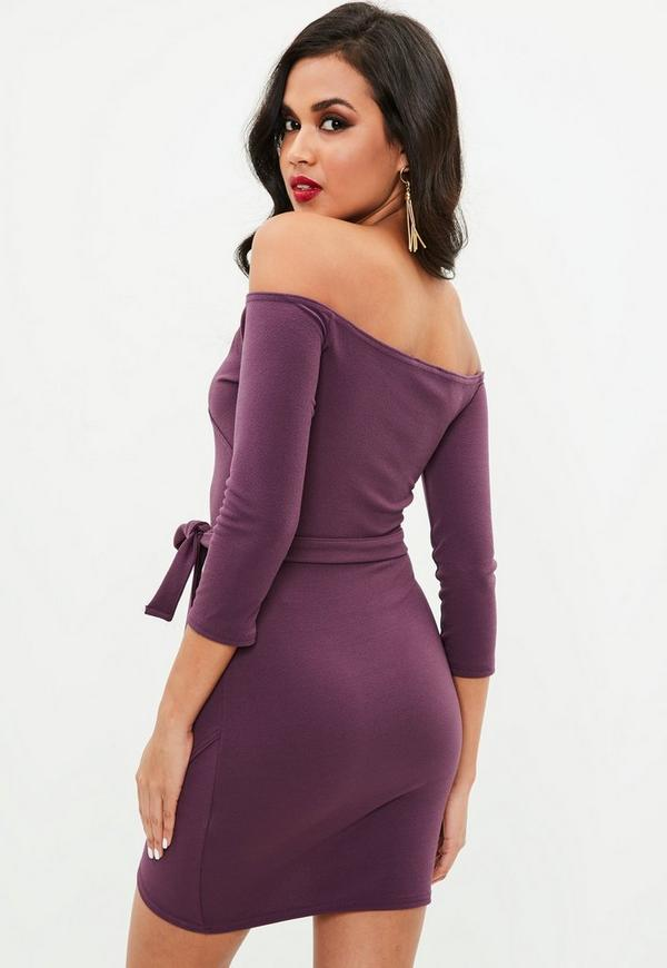 Plum Long Sleeve Wrap Front Tie Mini Dress Previous Next