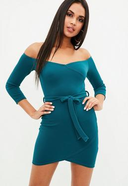 Teal Bardot Tie Waist Dress