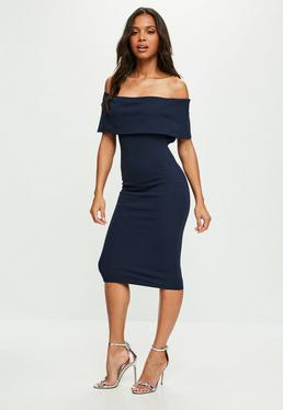 Navy Cut Out Midi Dress
