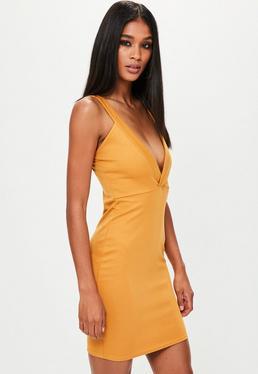Mustard Yellow Ponte Plunge Bodycon Dress