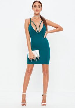 Blue Strappy Scuba Bodycon Dress
