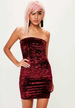 Red Velvet Bandeau Bodycon Dress