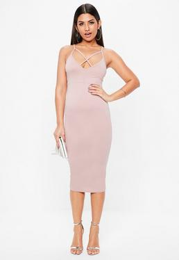 Pink Strap Detail Plunge Midi Dress