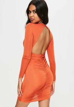Orange Slinky Ruched Back Mini Dress
