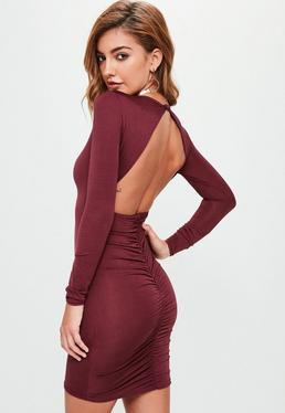 Purple Slinky Ruched Back Mini Dress
