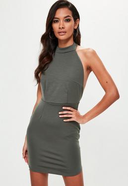 Dopasowana sukienka halter w kolorze khaki