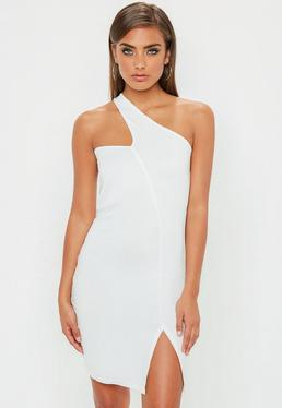 White Asymmetric Neck Bodycon Dress