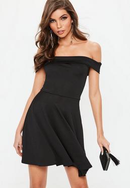 Black Bardot Skater Dress