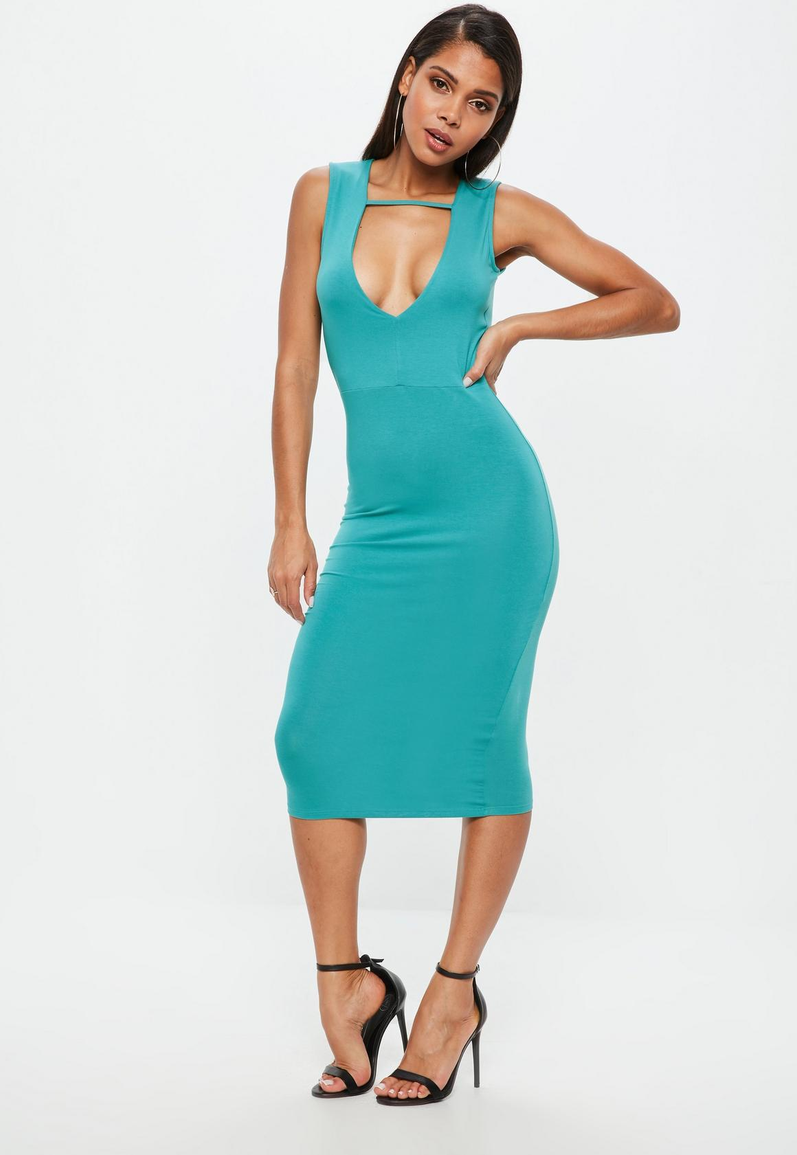 Teal Midi Bodycon Dress | Missguided