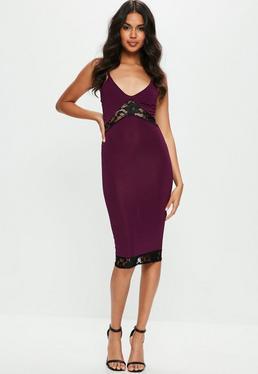 Purple Strappy Slinky Lace Insert Midi Dress