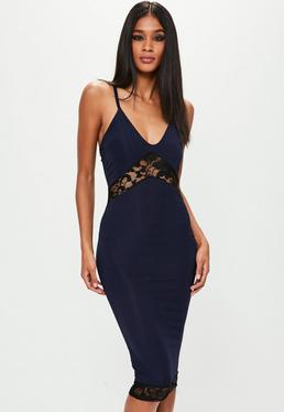 Navy Strappy Slinky Lace Insert Midi Dress