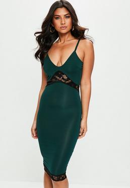 Green Strappy Lace Midi Dress