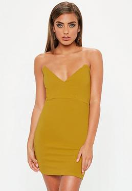 Mustard Yellow Crepe Bodycon Dress