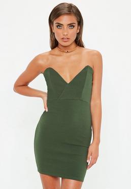 Khaki Crepe Bodycon Dress