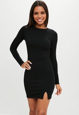 Black Crepe Long Sleeve Bodycon Dress