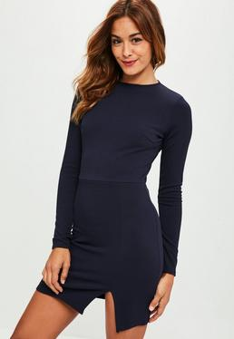 Navy Crepe Long Sleeve Dress