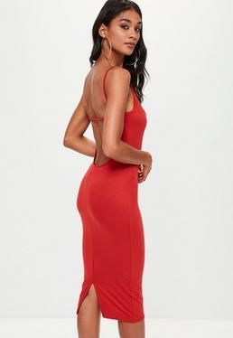Orange Jersey Scoop Back Dress