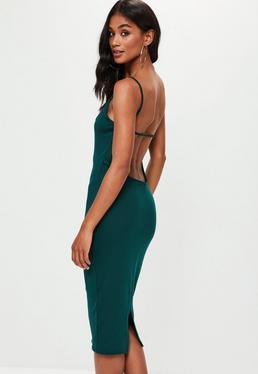 Green Jersey Strap Scoop Back Midi Dress