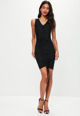 Khaki Ruched Front Mini Dress
