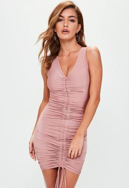 Pink Channel Detail Ruched Front Mini Dress