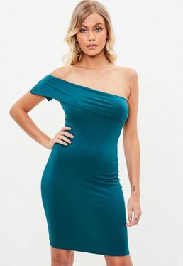 Teal Overlay One Shoulder Bodycon Dress