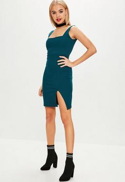 Teal Square Neck Side Split Midi Dress