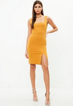 Yellow Side Split Midi Dress