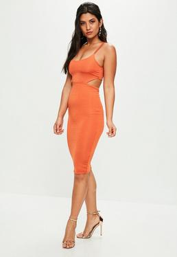 Orange Slinky Cut Out Dress