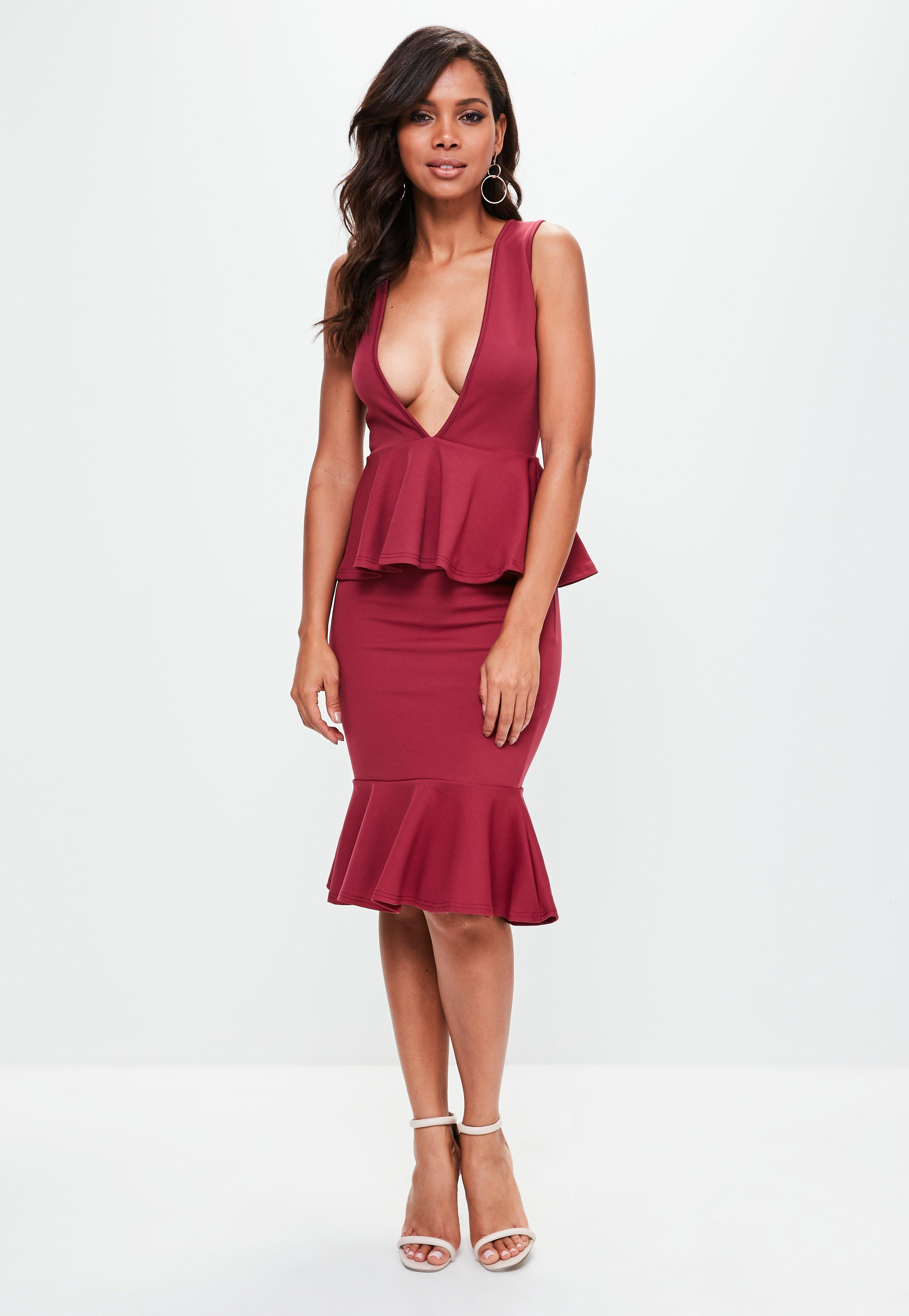 Burgundy Plunge Midi Dress  873b8039b