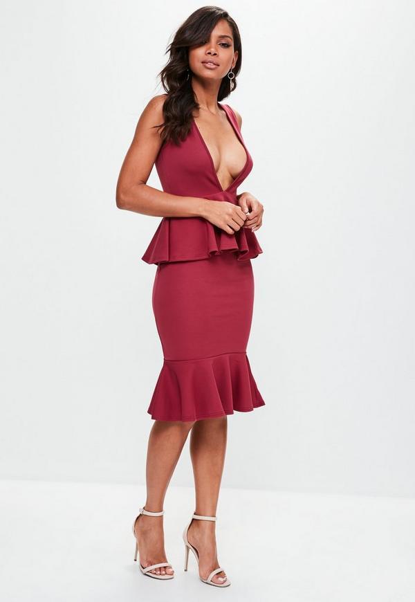 ... Burgundy Plunge Midi Dress. Previous Next dda2f4bf5