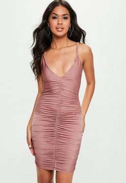 Pink Slinky Ruched Strappy Mini Dress