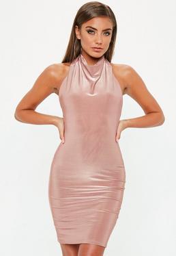 Nude High Neck Cowl Bodycon Dress
