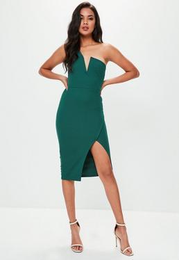 Vestido midi asimétrico en verde