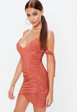 Red Tie Sleeve Ruched Side Bodycon Dress