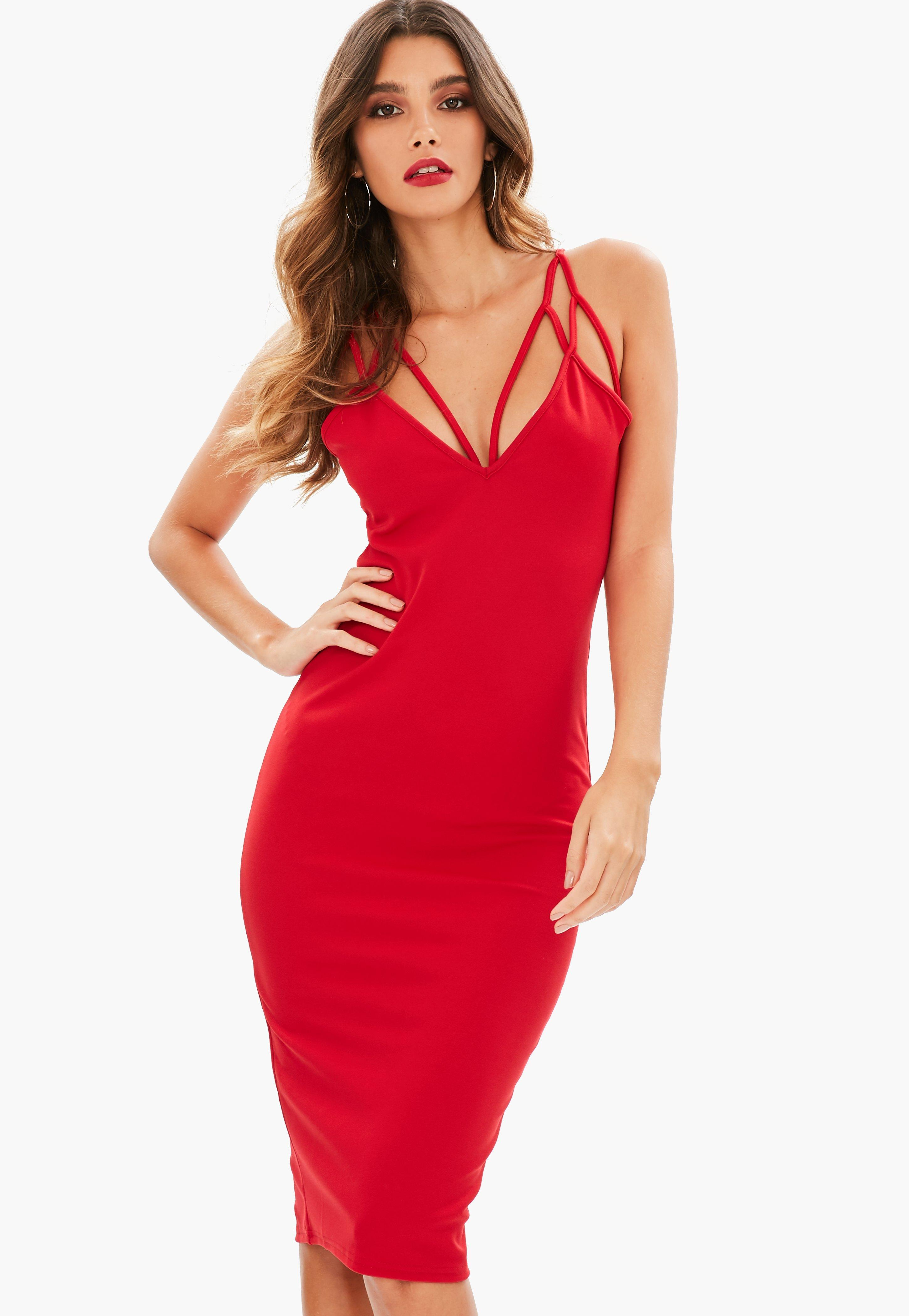 Red Harness Strappy Midi Dress