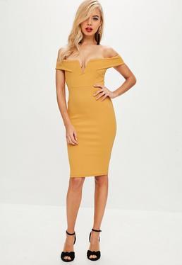 Yellow V Front Bardot Midi Dress