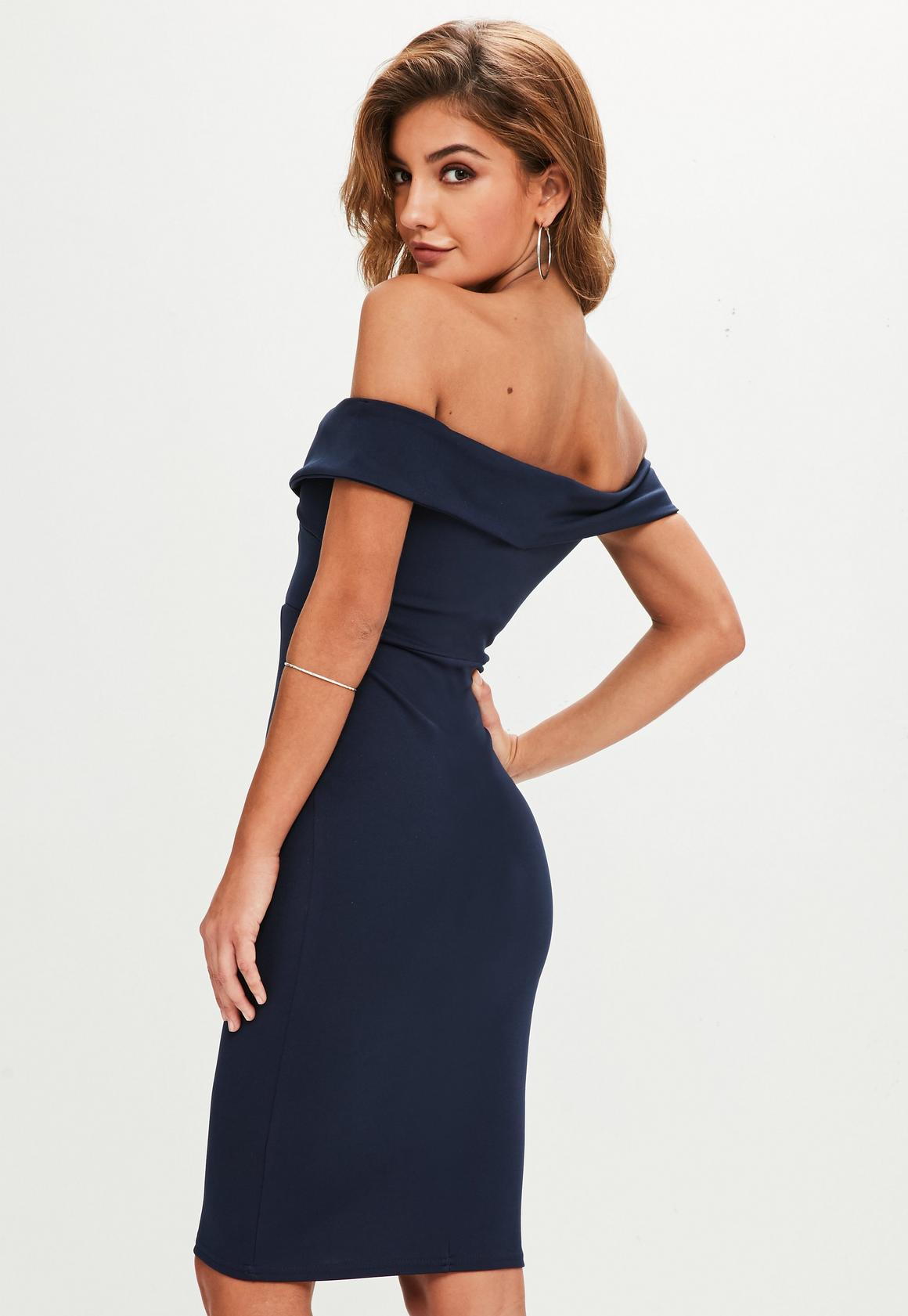 698f59a4b93f Missguided Navy V Front Bardot Midi Dress, Blue at £20 | love the brands