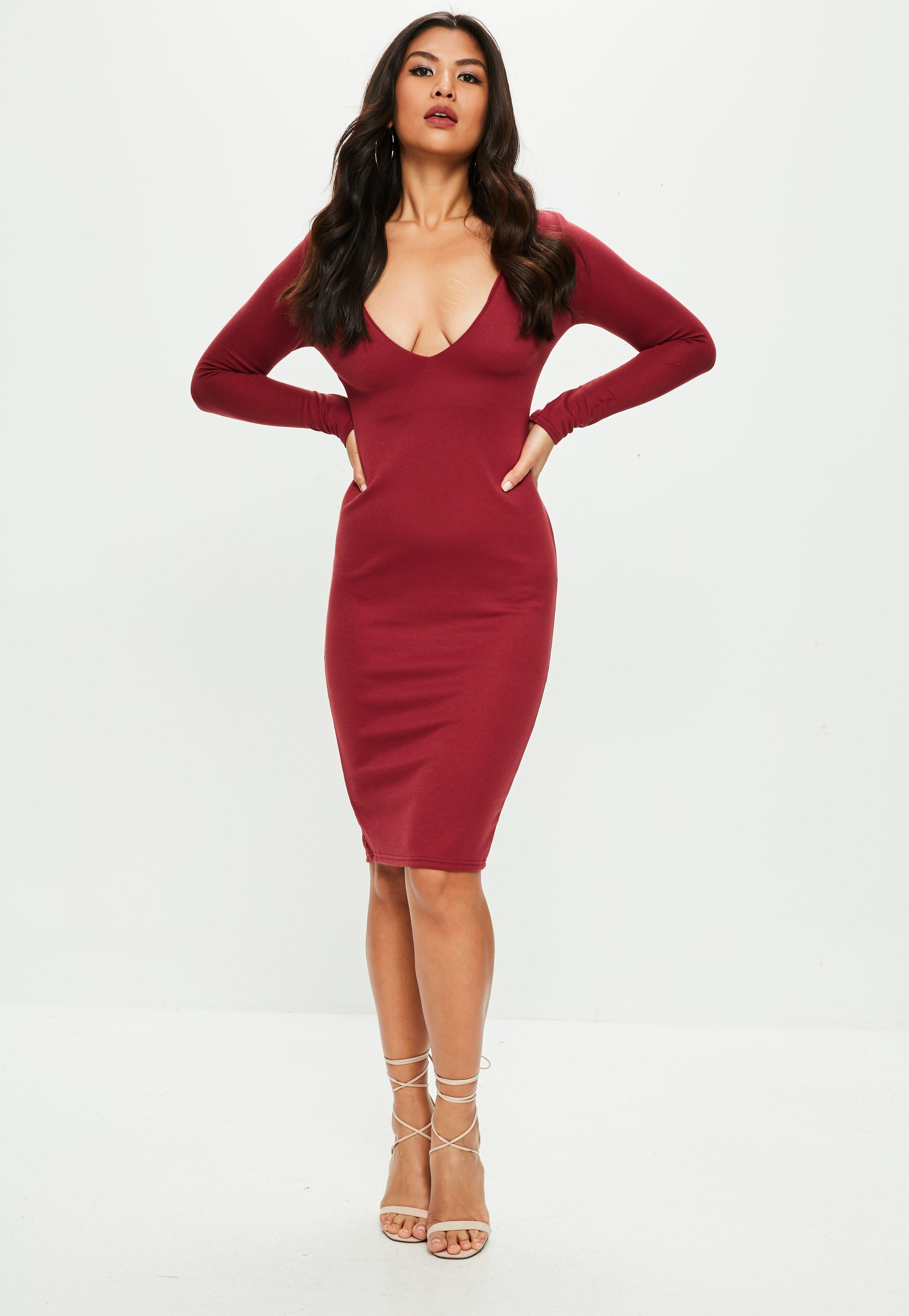 Missguided Burgundy Long Sleeved Midi Dress Buy Cheap Reliable Buy Cheap Largest Supplier Cheap Sale Shopping Online 5KGtDOsY