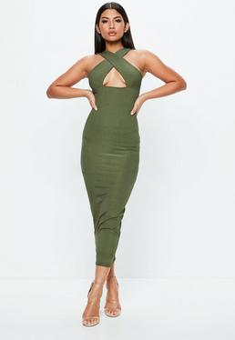 Khaki Ribbed Ankle Grazer Dress