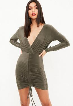 Khaki Slinky Channel Ruched Front Plunge Dress