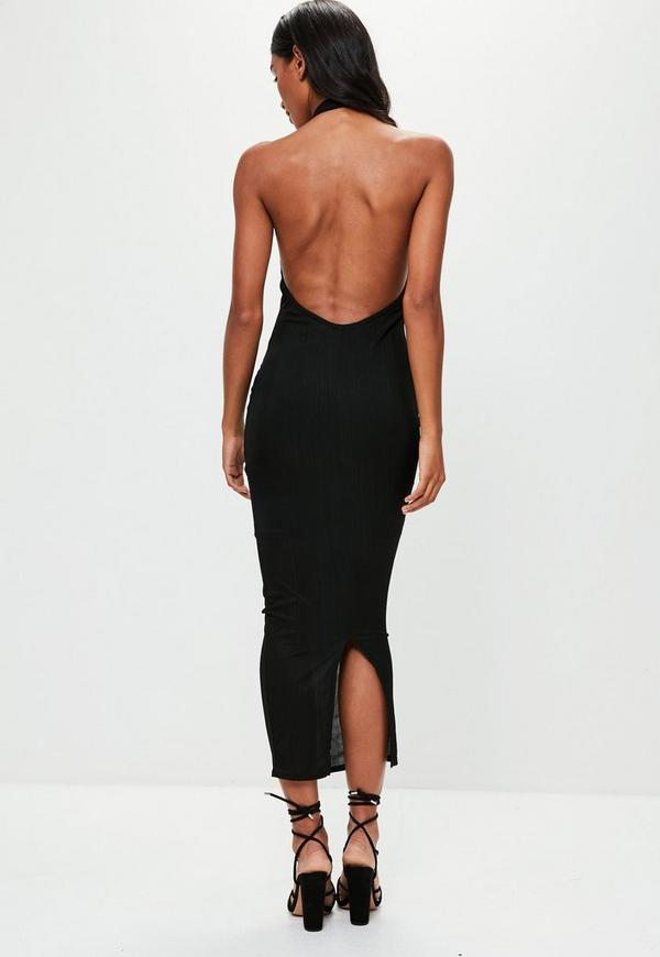 Black High Neck Low Back Maxi Dress Missguided