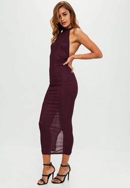Purple High Neck Low Back Maxi Dress