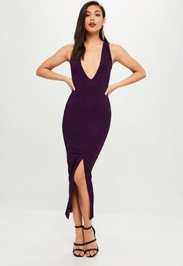 Purple Ribbed Split Front Maxi Dress