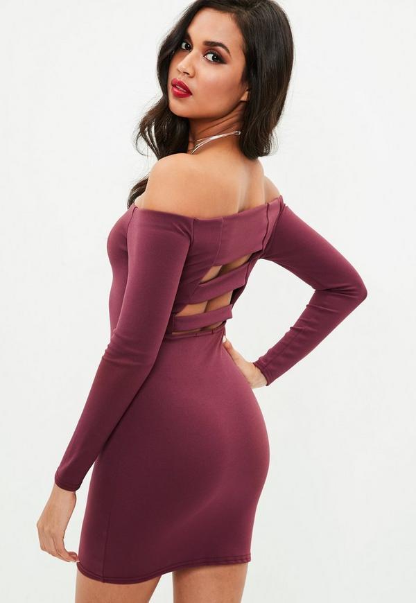 Purple Bardot Long Sleeve Dress   Missguided