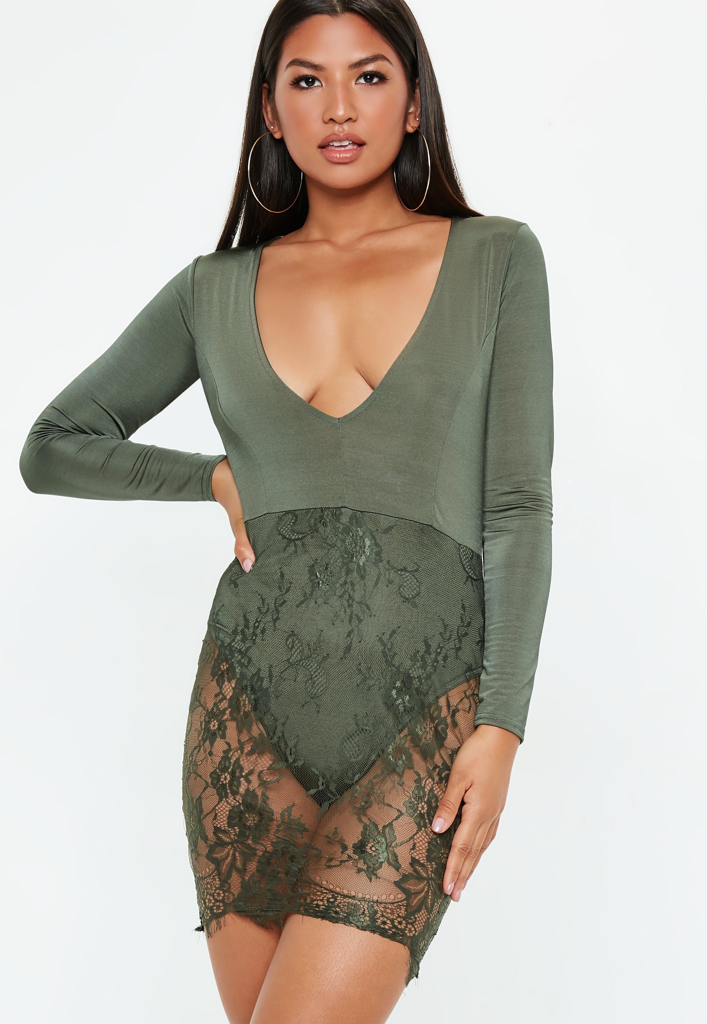 Khaki Slinky Lace Bodycon Dress