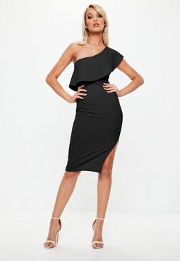 Black One Shoulder Frill Split Midi Dress