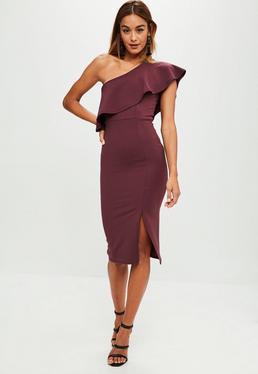 Purple One Shoulder Frill Split Midi Dress